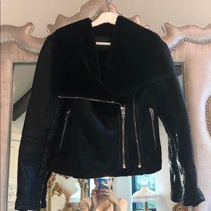 Faux leather moto jacket w faux fur lining & zip